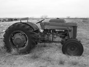 Old Tractor  Black and White