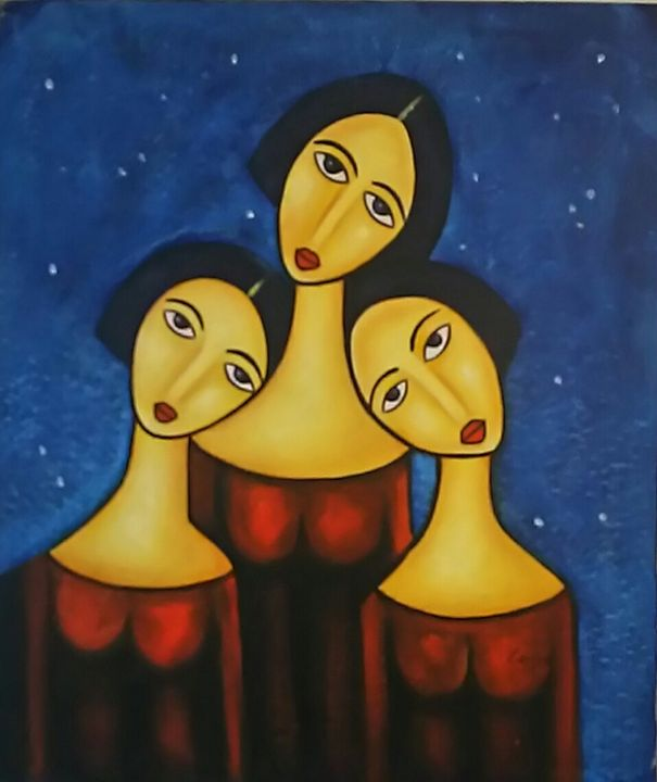 three alone girls - Vintage Painting Gallery