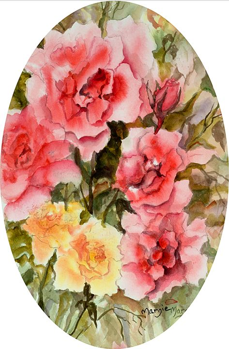 Roses in Oval - Margie's art