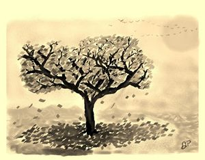 Painting of a Tree (Sepia)