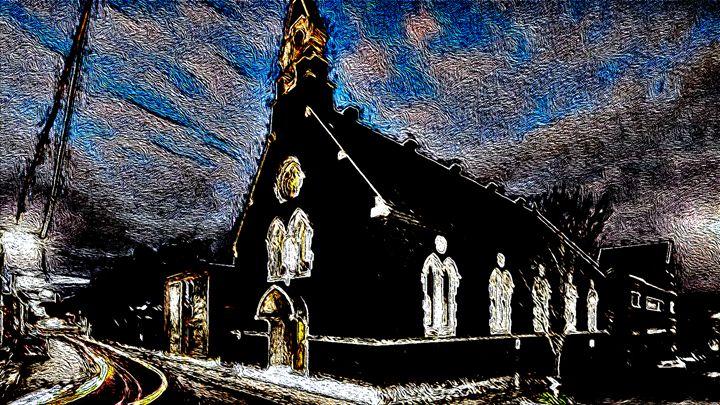 CHURCH AT NIGHT - DARIUS SIMONIS DRAWINGS PAINTINGS
