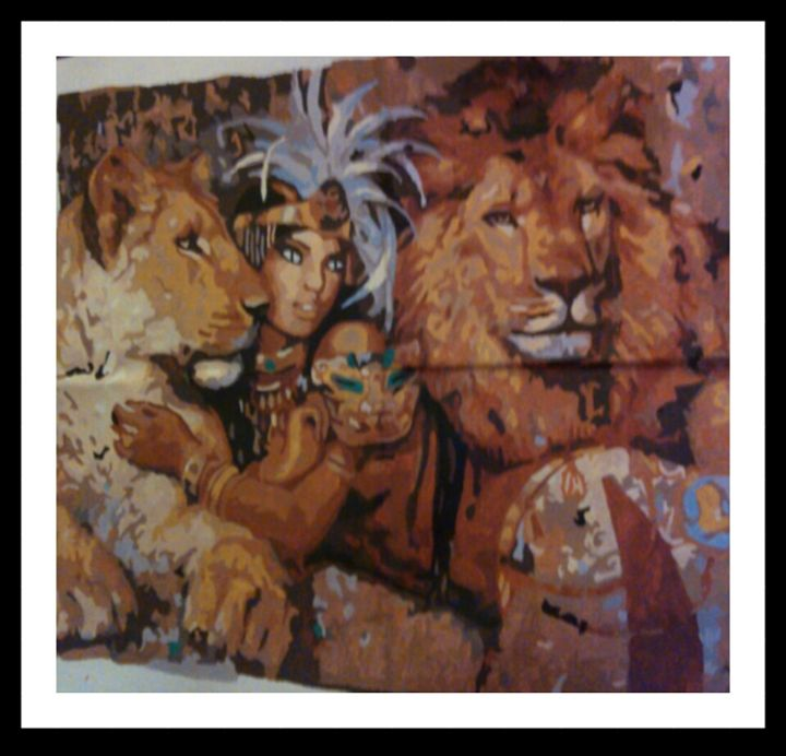 Beauty Indian and Lions - Maria's Handpainted Paintings