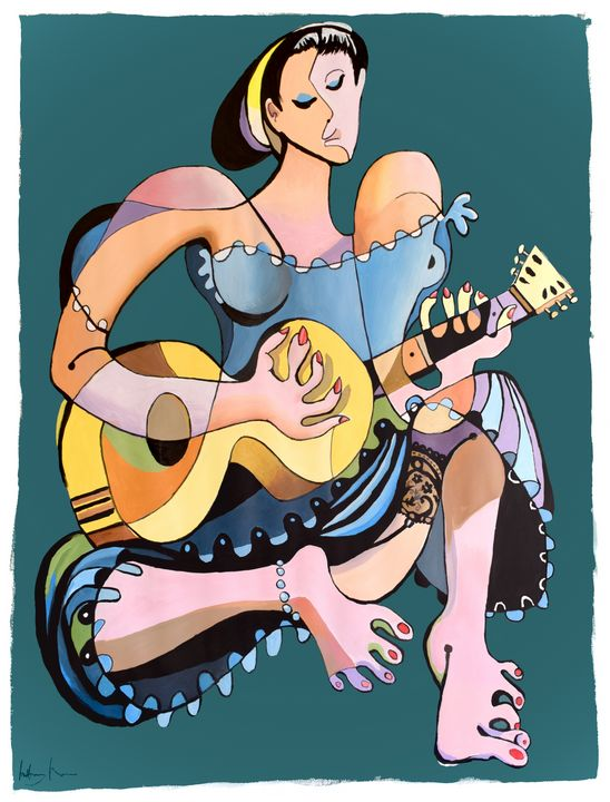 Guitarist in Lace (Large) - Prints by Geoff Greene