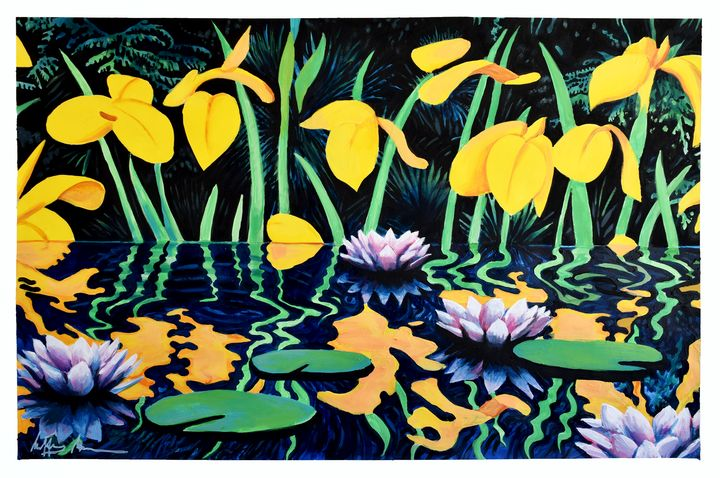 Pond With Yellow Lilies (After Katz) - Prints by Geoff Greene