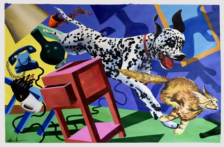 Dog Chasing Cat - Prints by Geoff Greene