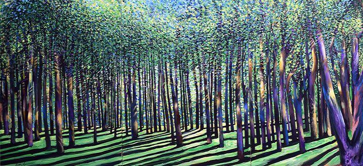 Dense Forest Triptych - Prints by Geoff Greene