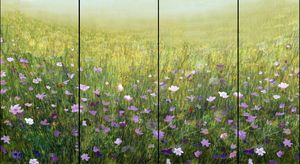 Flower Field in Mist - Quad painting