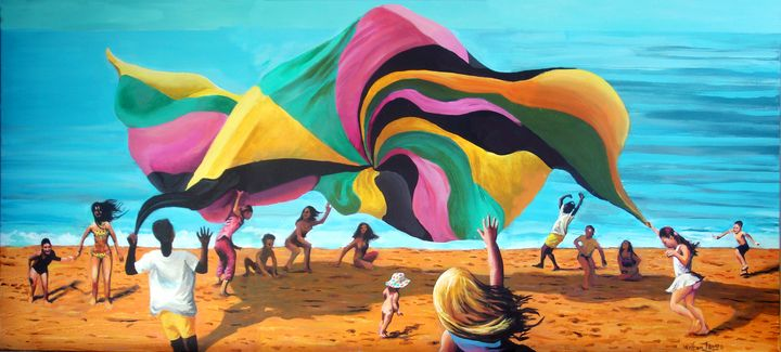 Fourteen Kids and a Parachute - Prints by Geoff Greene