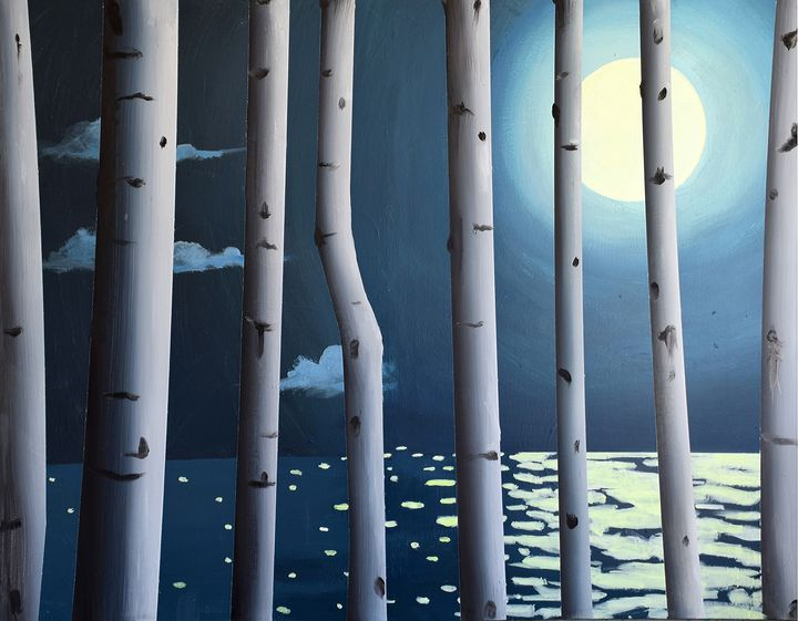 Full Moon with Birches - Prints by Geoff Greene