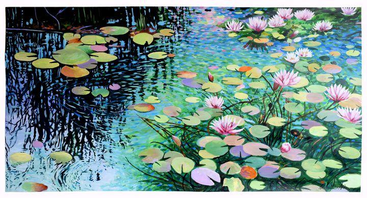 Waterlily Panorama - Prints by Geoff Greene