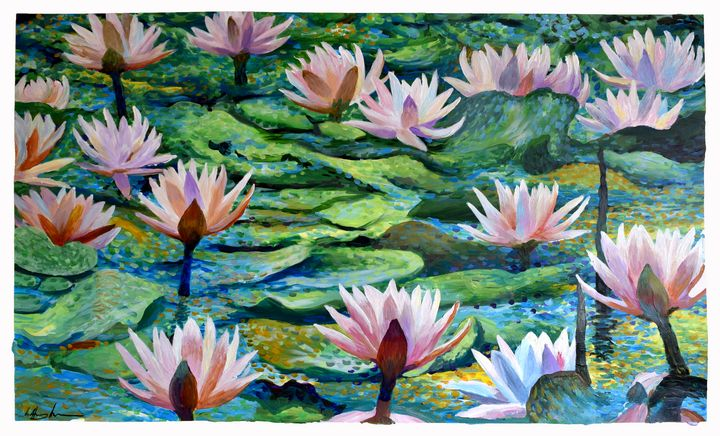 Large Lotus Garden - Prints by Geoff Greene