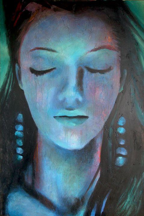 Girl with Blue Earrings - Prints by Geoff Greene