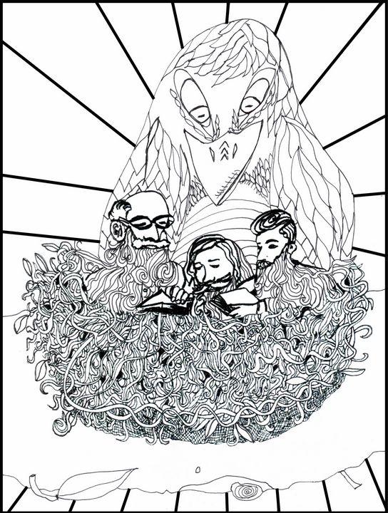 Men reading in a bird's nest - Shoshanah's Art