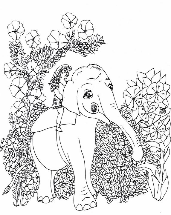 Christine Riding her Elephant - Shoshanah's Art