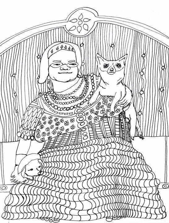 Elizabeth with her doggies - Shoshanah's Art