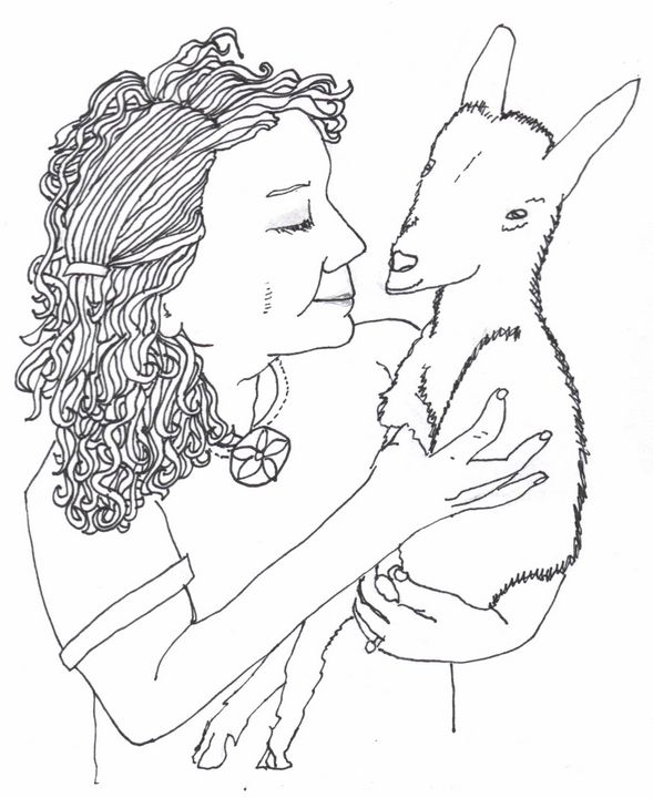 Janelle with her Goat Kid - Shoshanah's Art