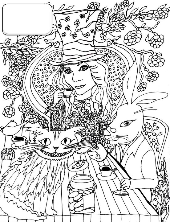 Jill with the Hare and Cheshire Cat - Shoshanah's Art