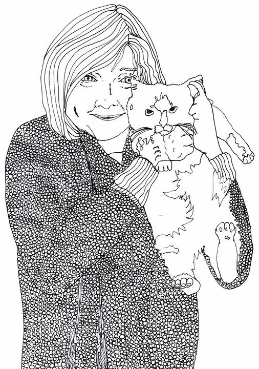 Aunt Lou and her Kitty Cat - Shoshanah's Art