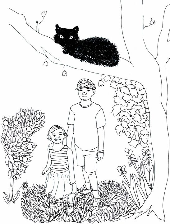 Marley's Kids and their Cat - Shoshanah's Art