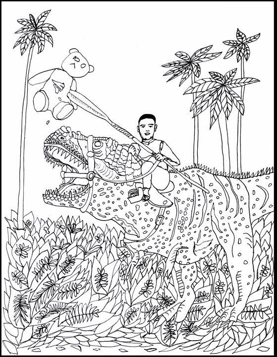 Spearing a Teddy Bear on a Dinosaur - Shoshanah's Art