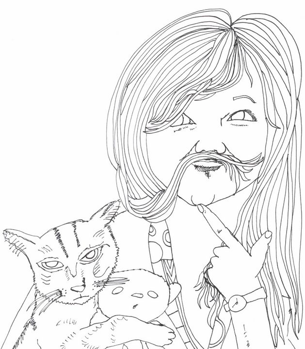 Molly with her Cat and Teddy - Shoshanah's Art