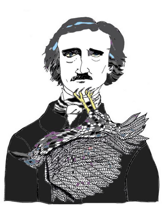 Edgar Allan Poe with a Raven - Shoshanah's Art
