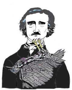 Edgar Allan Poe with a Raven - Shoshanah's Art