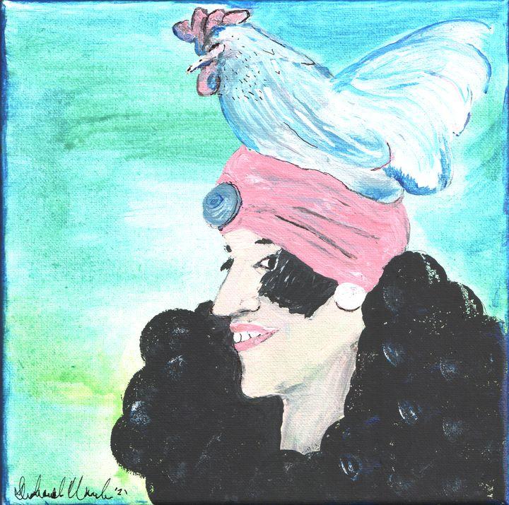 Flapper Wearing a Chicken As A Hat - Shoshanah's Art