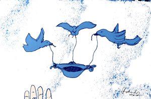 Blue Birds Taking Away Your Feast - Shoshanah's Art