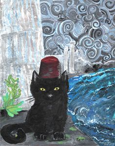 Beautiful Black Cat Wearing a Fez