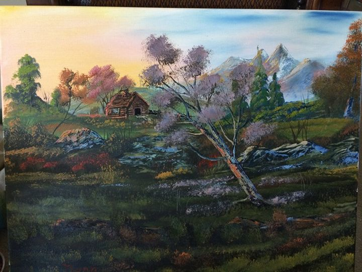 Cabin in a  Meadow - Kevin Nunn's Oil paintings