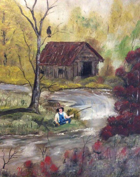 Boy Fishing - Kevin Nunn's Art Gallery