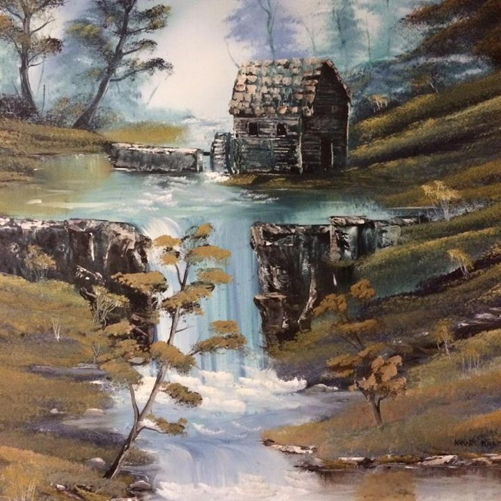 The mill by the stream and falls - Kevin Nunn's Art Gallery