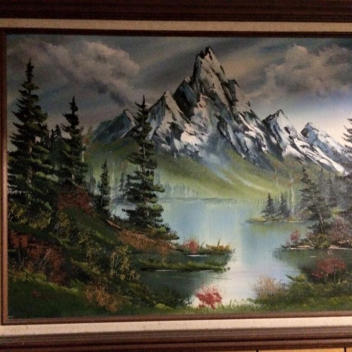 Mountain by the lake - Kevin Nunn's Oil paintings