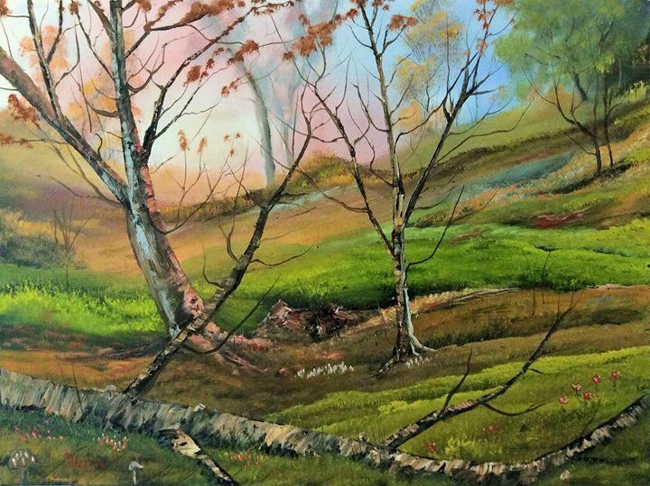 Log and Mushrooms - Kevin Nunn's Art Gallery