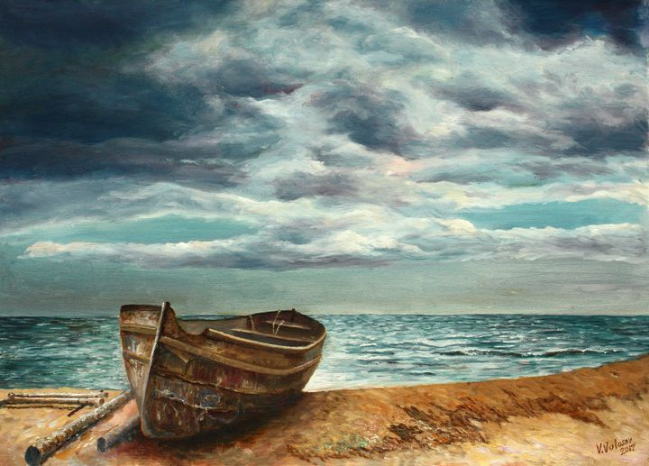 Old boat on the beach - vladart