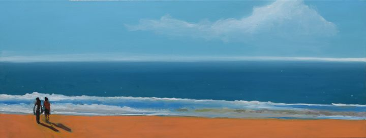 Small Sea with Couple (SOLD) - Geoff Greene Gallery