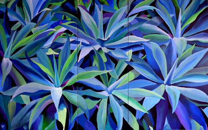 Agave Blue triptych - Geoff Greene Gallery