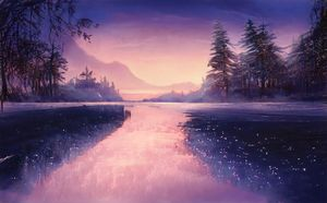 View of a mountain lake at dusk with