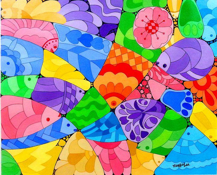 SOLD - Fishes - acrylic fine art - leeartgallery