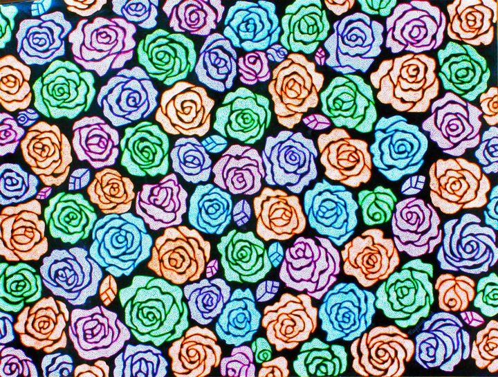 Roses 2 - acrylic on canvas - leeartgallery