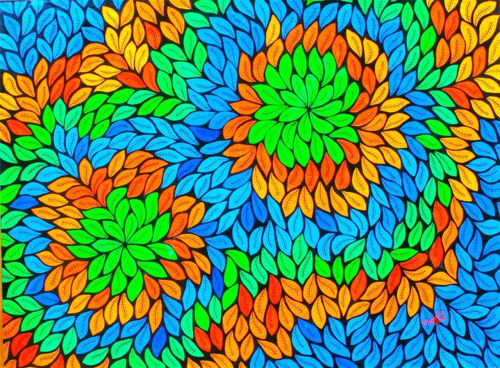 Leaves - acrylic on canvas - leeartgallery