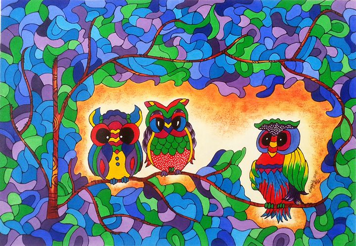 SOLD - Owls in the jungle - leeartgallery