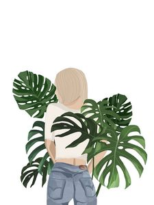 Girl With Monstera Plant