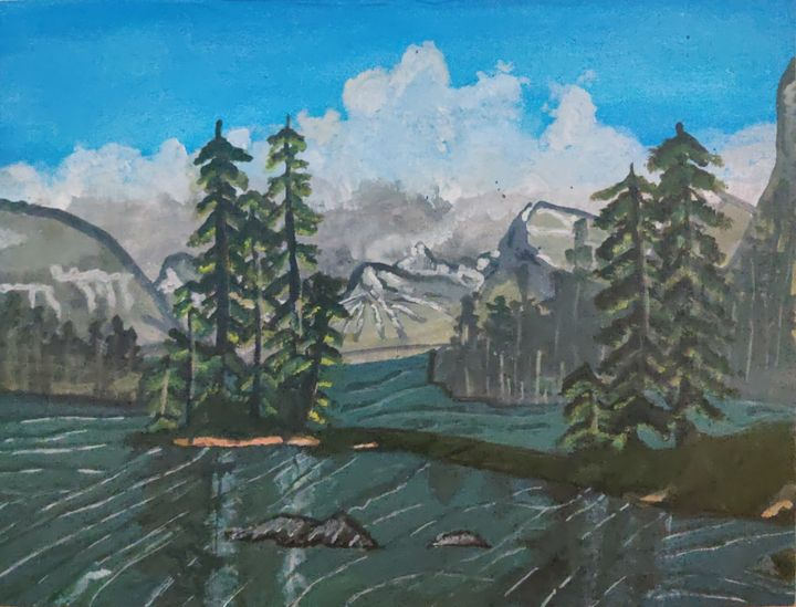 Snow mountains and a lake - Arts struck