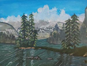 Snow mountains and a lake