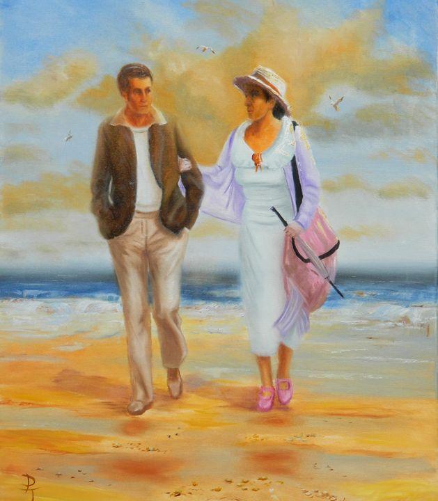 couple on a beach - p a torley fine art