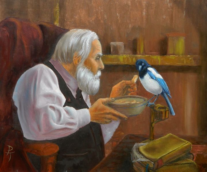 old man with a magpie - p a torley fine art