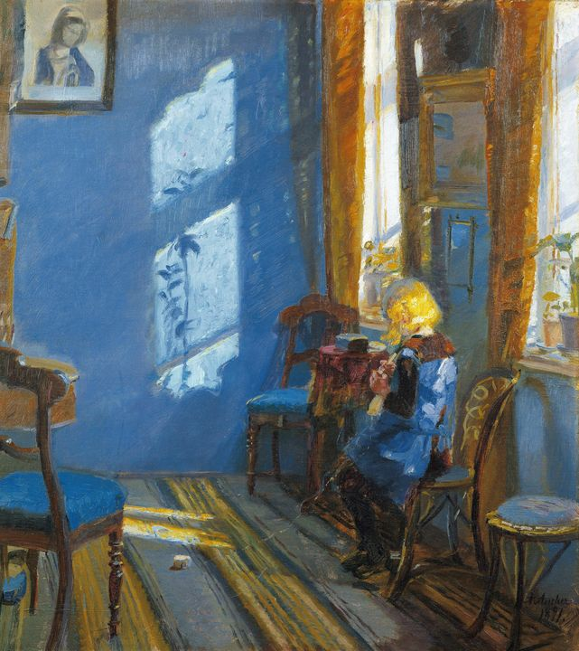 Anna Ancher~Sunlight in the blue roo - Old master image
