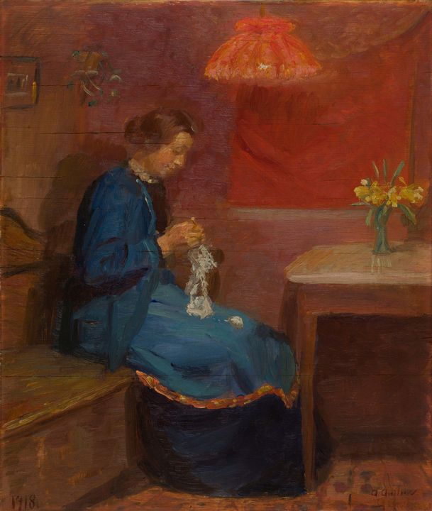 Anna Ancher~Woman with her needlewor - Old master image